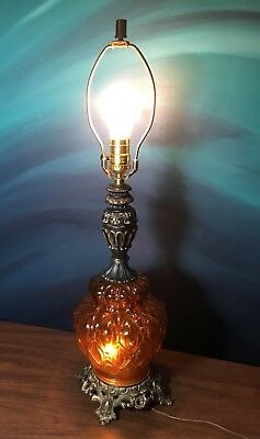 Vintage Amber Gold Glass Table Lamp Brass Retro Round Mid Century MCM