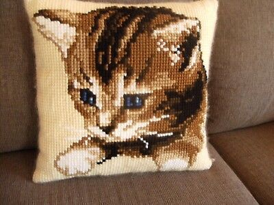 Cushion- CAT- 1/2 Cross Stitch tapestry style