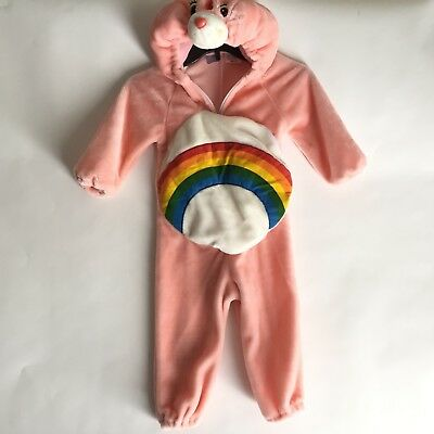 Care Bear Girls Costume Size 2-4 CHEER Bear Rainbow Belly Toddler Halloween