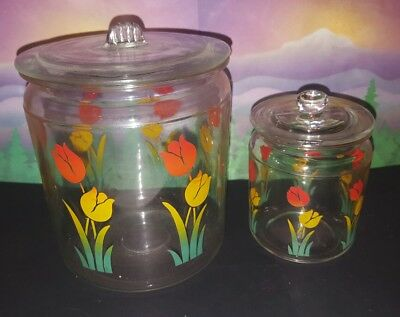 2 pc vintage Art Deco glass 1930s tulips red yellow flowers canister set + lids