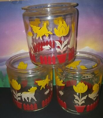 3 pc vintage Art Deco glass 1930s tulips red yellow duck lamb canister set jars