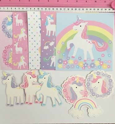 11pc 'Unicorn Themed' Papers And Die Cuts - Embellishments Cardstock Card making