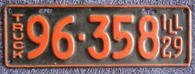 1929 Illinois Truck License/number Plate # 96-358