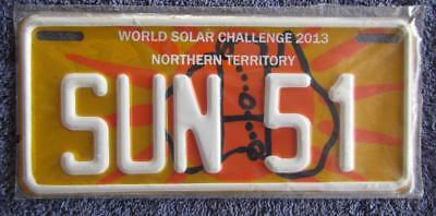 2013 Nt Solar License/number Plate # Sun 51
