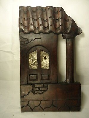 Hand carved wood panel diorama house hanging wall Tuscany 13.5'' TALL