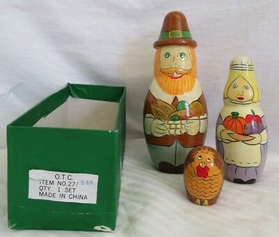Thanksgiving Themed Wooden Pilgrim Nesting Doll by Terry's Village w/ Box