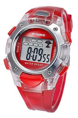 SYNOKE Multifunktion Unisex TPU Band Digitale Uhr rot  H7T2