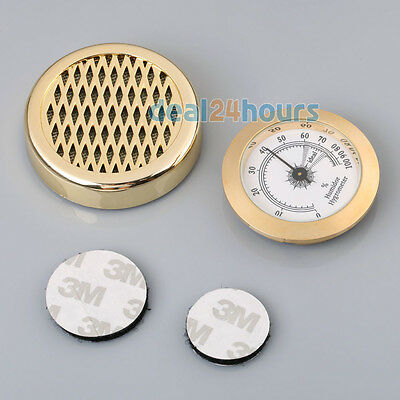 New GOLD Color Smoking Tobacco Hygrometer + Round Humidifier for Cigar Humidor
