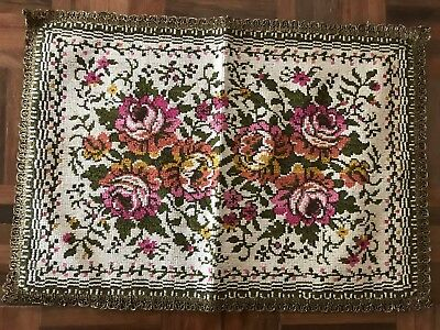 Antique french knot tapestry needlepoint table runner floral roses metallic trim