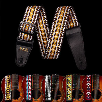 Braid Embroidered Woven Guitar Strap 2'' Leather End for Bass/Acoustic/Electric