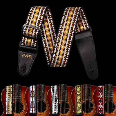 Leather End Braid Embroidered Woven Guitar Strap 2'' for Bass/Acoustic/Electric