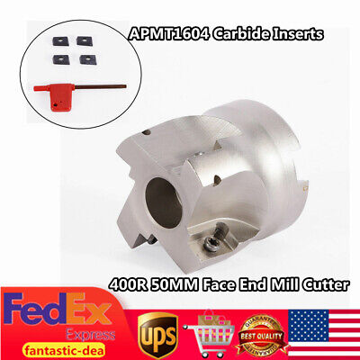 R8 FMB22 Arbor 400R 50MM Face End Mill Cutter + 4x APMT1604 Carbide Inserts UPS