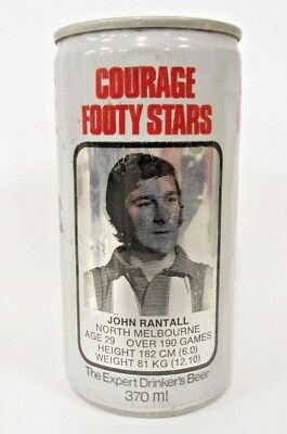 Corage Draught Beer rare John Rantell North Melbourne Footy Star collector can