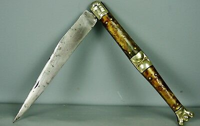 Antique Large Ornate Navaja Folding Knife, Dagger, Signed,18-19.c