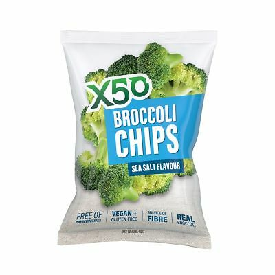 X50 Broccoli Chips 40g x 10-BBQ/Spicy/Sea Salt- Same Day Dispatch