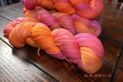 "Hand Dyed  ""Hello Parker"" Merino  Lace Knitting Yarn X 2 Skeins"