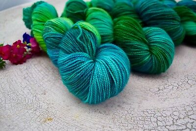 "Hand Dyed  ""Hello Parker"" 4 Ply Superwash High Twist Knitting Yarn X 4 Skeins"