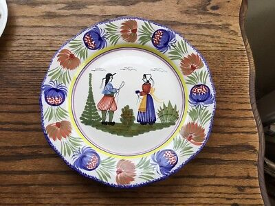 "Vintage HB Quimper Pottery 10"" Wall Plaque/Plate Hand Painted c1969-1983"