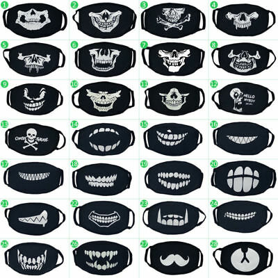 Halloween Mask Unisex Anti Dust Mouth Mask Cotton Face Mask Glow in the Dark