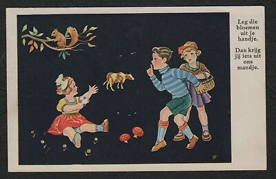 """e1852)            VINTAGE DUTCH GREETING SERIES POSTCARD FROM 1937 """"NETHERLANDS"""""""