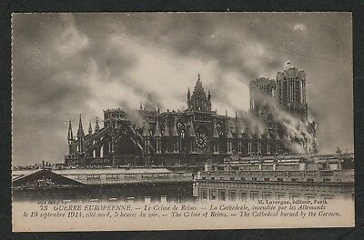 e2345)     WW1 ERA POSTCARD THE CRIME OF REIMS,CATHEDRAL BOMBED BY THE GERMANS