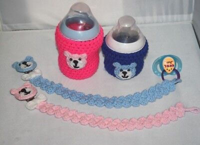 Crochet baby bottle COVER Tommee Tippee/ Nuk/ MAM/ AVENT... DUMMY HOLDER / CLIP