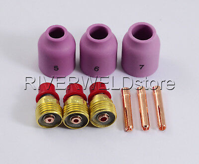 TIG KIT Gas Lens Collect Nozzle Consumables For WP 9 20 25 TIG Welding Torch 9pk
