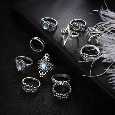 11Pcs Women Silver Color Silver Plated Crystal Ring Charming Delicate Ring N7