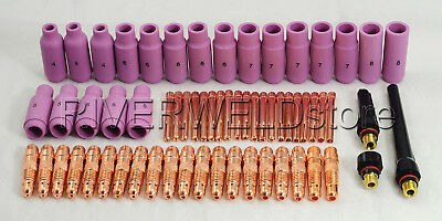 TIG Gas Lens Collet Body Alumina Nozzle Kits WP 17 18 26 TIG Welding Torch 63pk