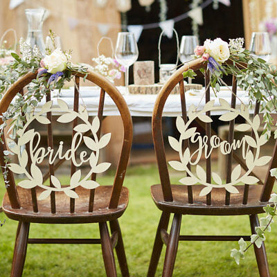 Bride and Groom chair signs Wedding rustic beautiful natural vintage theme