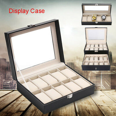 6/10/20/24 Grids Watch Display Case PU Leather Storage Box  Jewelry Organizer