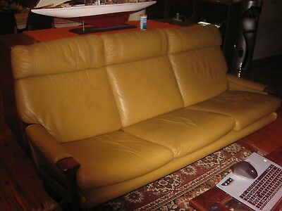 Tessa T21 Mustard Leather 3 Piece suite in excellent condition with footstool