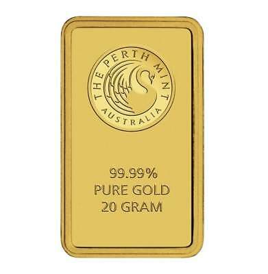 Perth Mint Kangaroo 20g .9999 Gold Minted Bullion Bar - Black Card - 20 Grams