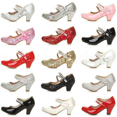 Girls Childrens Kids Party Wedding Bridesmaid Mary Jane Strap Sandals Shoes Size