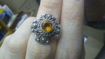 byzantine 950 sterling silver canetille maltese cross ring topaz? or glass? .950