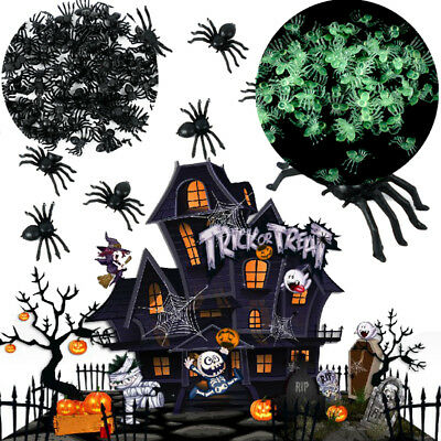 100Pcs Black Plastic Spiders Glow In The Dark Fake Halloween Party Decoration