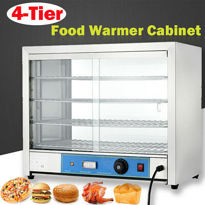 4-Tier Electric Hot Food Pizza Warmer Display Cabinet Counter Heated Countertop