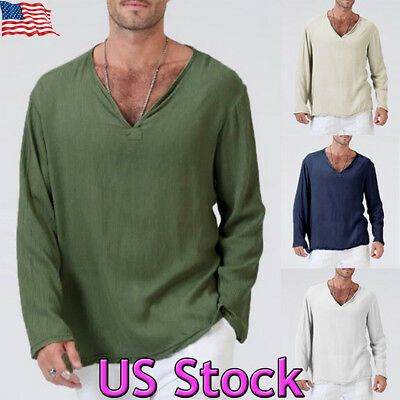 Men VNeck Long Sleeve Loose Shirts Slim Fit Muscle Casual T-shirt Tops Blouse