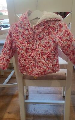 Joules reversible Floral hooded Jacket 9 -12 months toddler/ baby