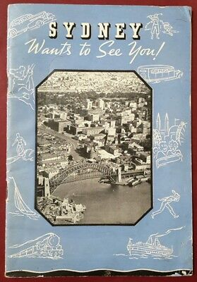 1940s SYDNEY Wants to See You ! Train Tram Bus Ferry Journey Guide around Sydney