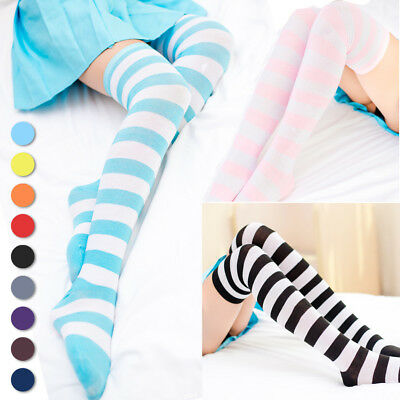 Lolita Girl Striped Thigh High Socks Sporty Athletic Cosplay Stockings Over Knee