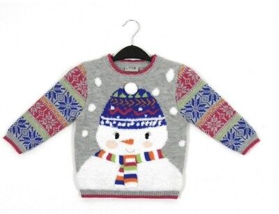 Ex Store Girls Grey Pink Christmas Xmas Snowman Jumper Age 2/3 & 3/4 Years