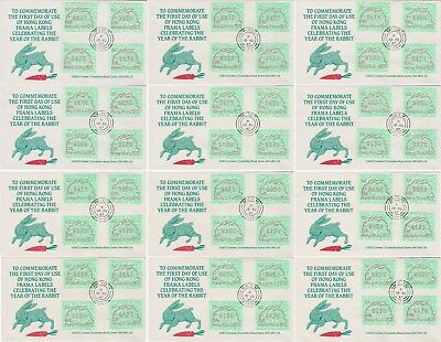 Hong Kong 1987 12x FDC ATM / FRAMA 02 some different colours