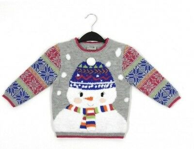 Ex Store Baby Girls Grey Pink Christmas Xmas Snowman Jumper Age 12/18 18/24 Mths