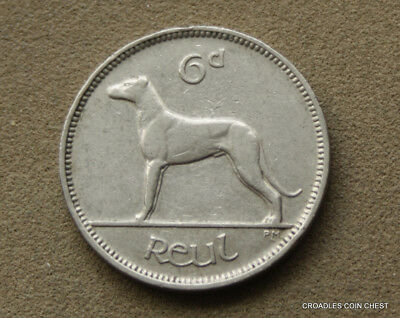 Ireland Republic 1939 Sixpence Wolf Hound Circulated Condition Irish #eed1