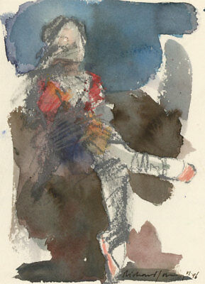 Richard J.S. Young - Signed 1996 Mixed Media, Ballerina, Seated