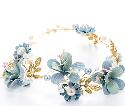 Blue Flower Wedding Pearl Gold Headpiece Bridal Tiara Hair Accessory