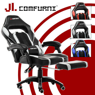 ⚽Home Office Gaming Race Computer Desk Chair Executive Recline Footstool Sport