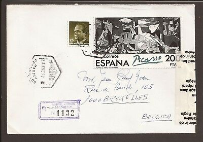 """Spain, 1992 Registered cover. """"Damaged in transit"""" sticky tape on side. Picasso"""