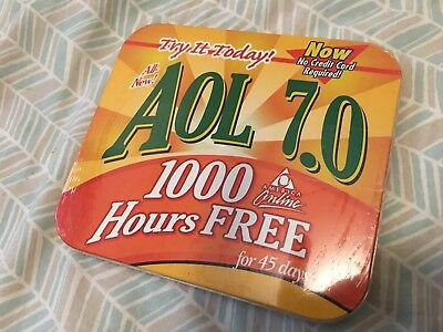 America Online AOL 7.0 In Metal Tin For Windows And Macintosh